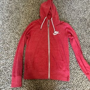 Nike vintage light weight gym red jacket hooded sweater